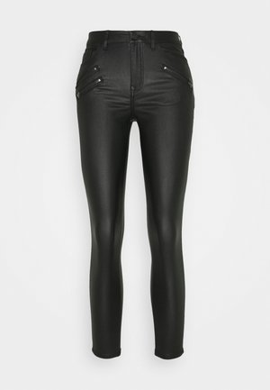 VICOMMIT COATED ZIP PANTS - Jeans Skinny Fit - black