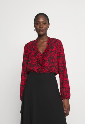 SHADOW DITZY FLORAL FRILL - Longsleeve - red