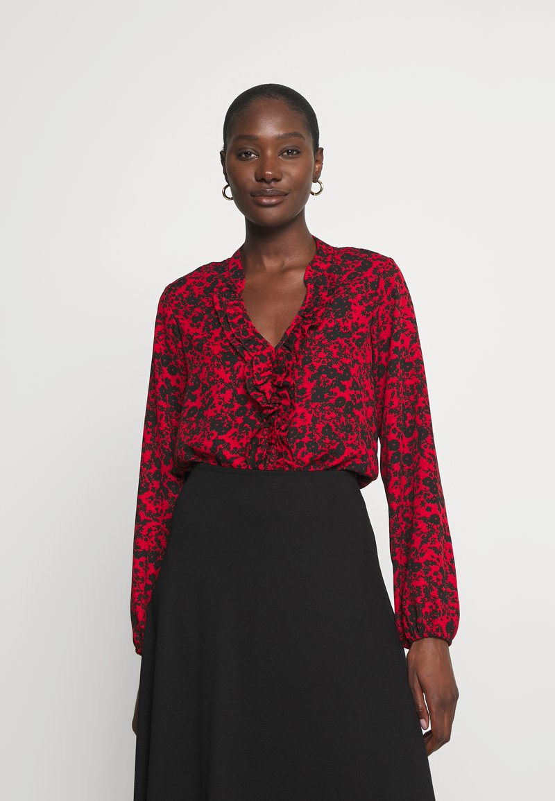 Wallis - SHADOW DITZY FLORAL FRILL - Long sleeved top - red