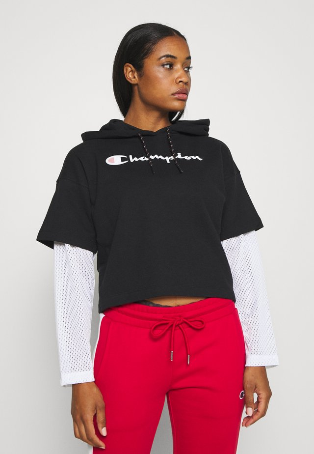 HOODED - Hoodie - black/white