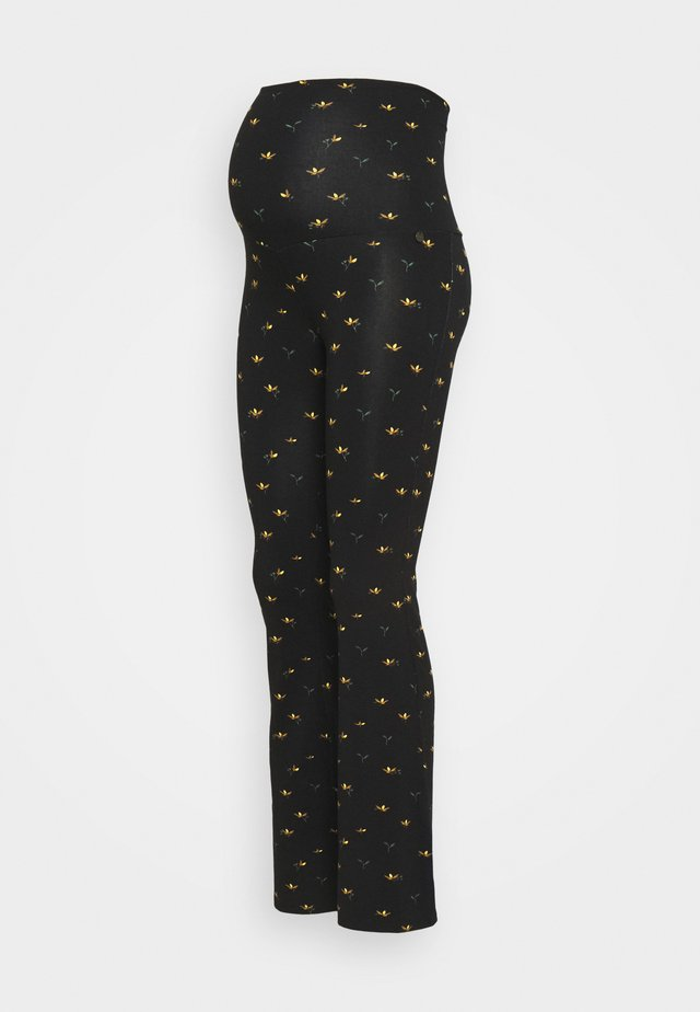 PANTS FLARED FLOWERS - Leggings - black