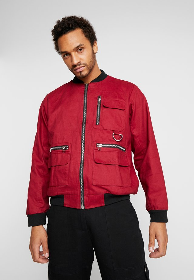JACKET - Bomber Jacket - burgundy/black