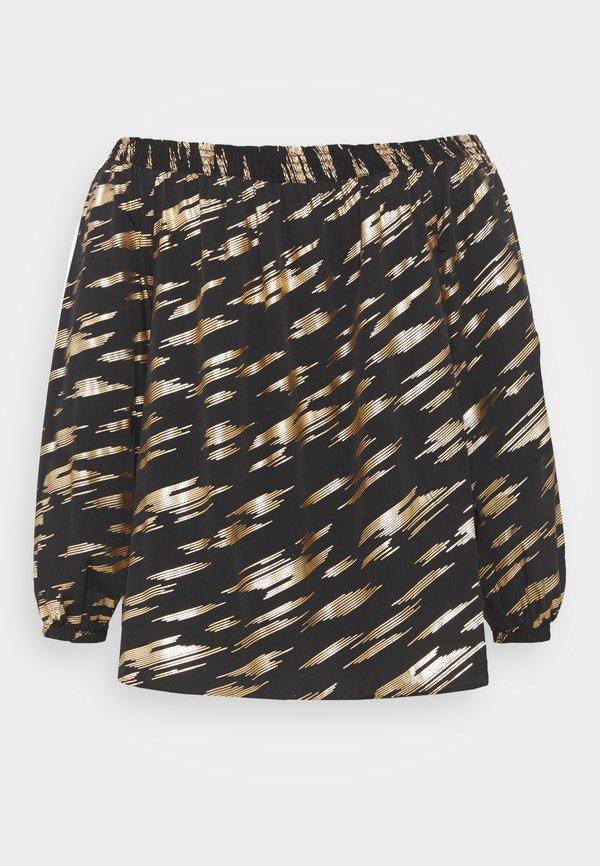 CAPSULE by Simply Be FOIL PRINT SHIRRED BARDOT - Bluzka z długim rękawem - black/czarny KWOX