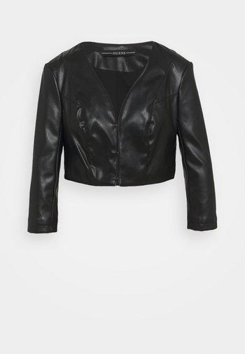 GEORGIA CROPPED - Faux leather jacket - jet blac