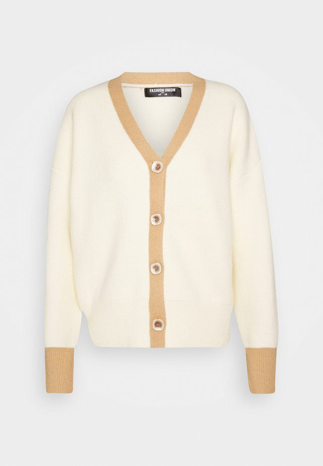 CONTRASSY - Strikjakke /Cardigans - cream/brown