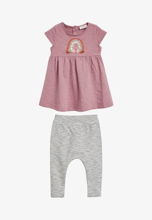 LILAC RAINBOW DRESS AND LEGGINGS SET (0MTHS-2YRS) - Leggings - Trousers - purple