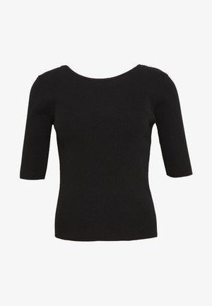 LADIES KNITTED  - Print T-shirt - black