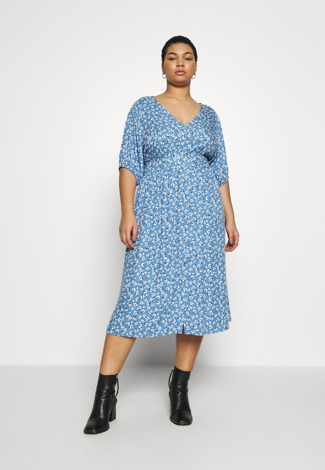 CURVE WOVEN PUFF SLEEVE MIDI DRESS - Abito a camicia - daisy parisian blue
