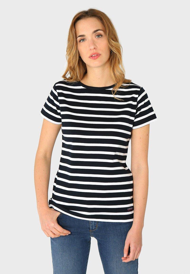 Armor lux - MORGAT MARINIÈRE - Print T-shirt - rich navy/blanc
