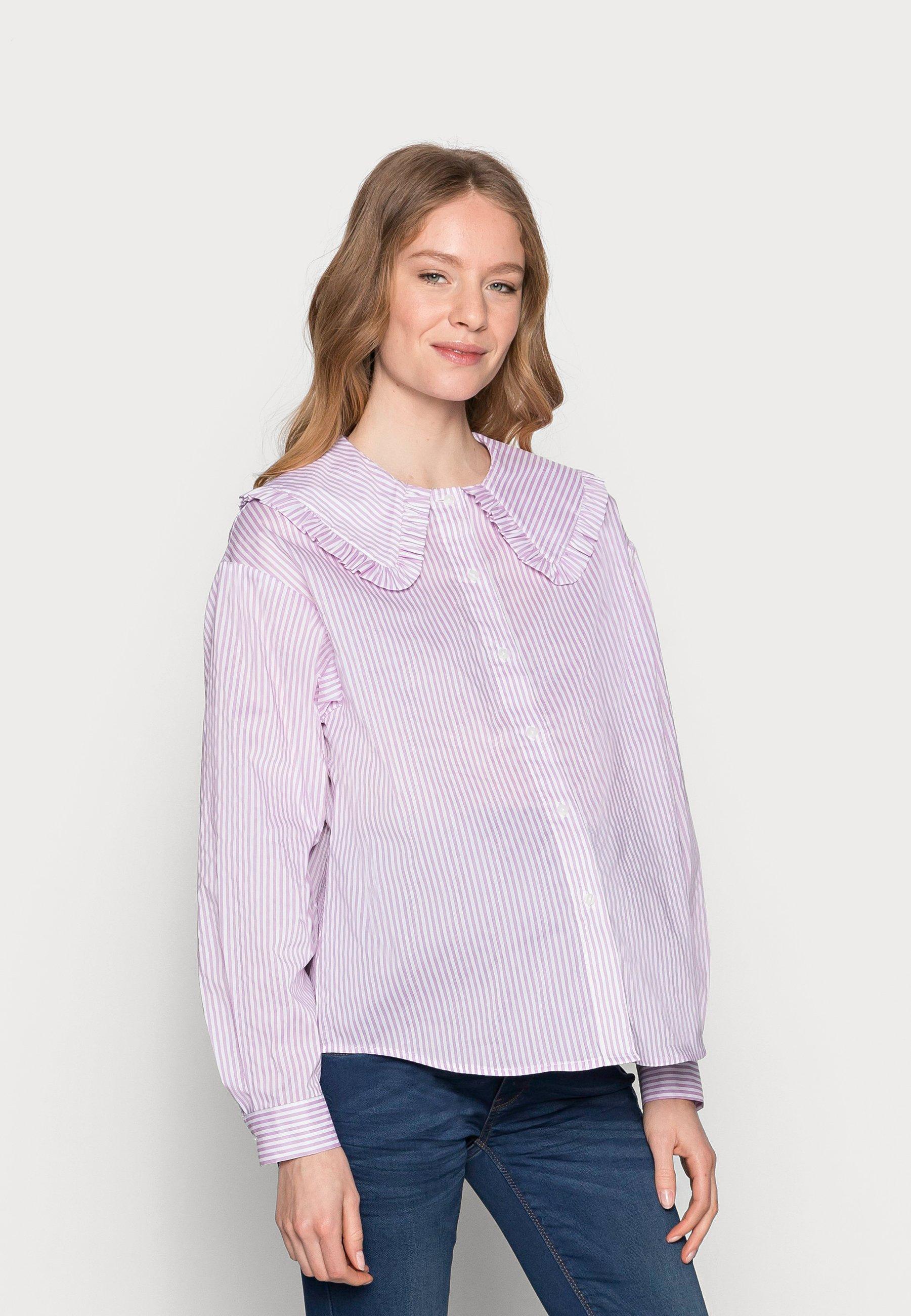 Women PCMHUNDA - Button-down blouse - bright white/orchid