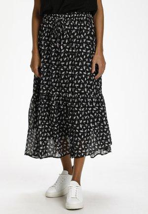 A-line skirt - black / chalk lurex flower