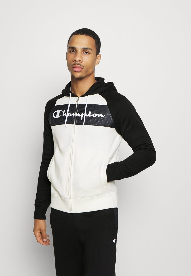 Champion - LEGACY HOODED FULL ZIP SUIT SET - Trainingsanzug - offwhite/black
