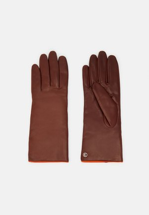 Gloves - tobacco/vermillion orange