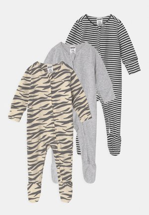 3 PACK LONG SLEEVE UNISEX - Sleep suit - marty/cloud marle/black