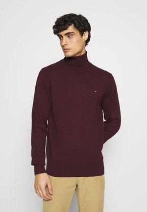 PIMA ROLL NECK - Jumper - deep burgundy heather