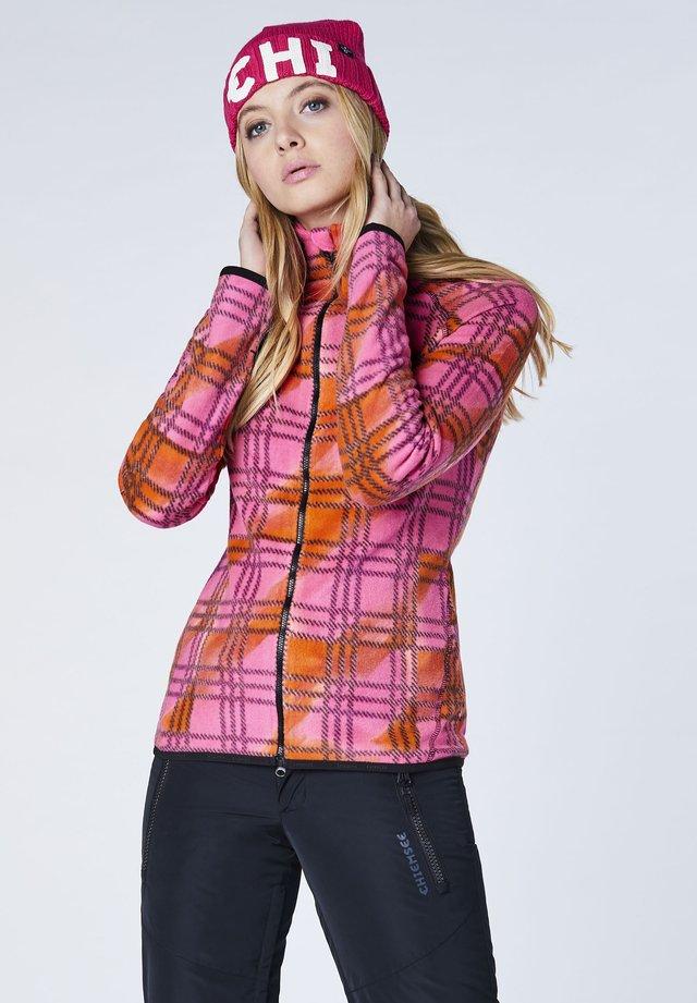 MIT KONTRASTNÄHTEN - Fleece jacket - pink/orange chk
