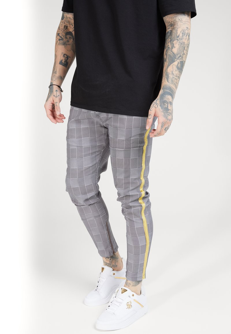 SIKSILK - FITTED SMART TAPE JOGGER PANT - Trousers - grey/yellow