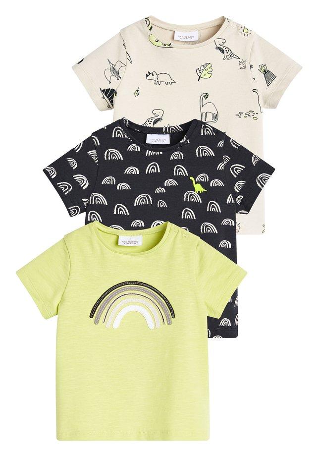 MONOCHROME 3 PACK DINOSAUR T-SHIRT WITH STRETCH (0MTHS-2YRS) - Print T-shirt - yellow