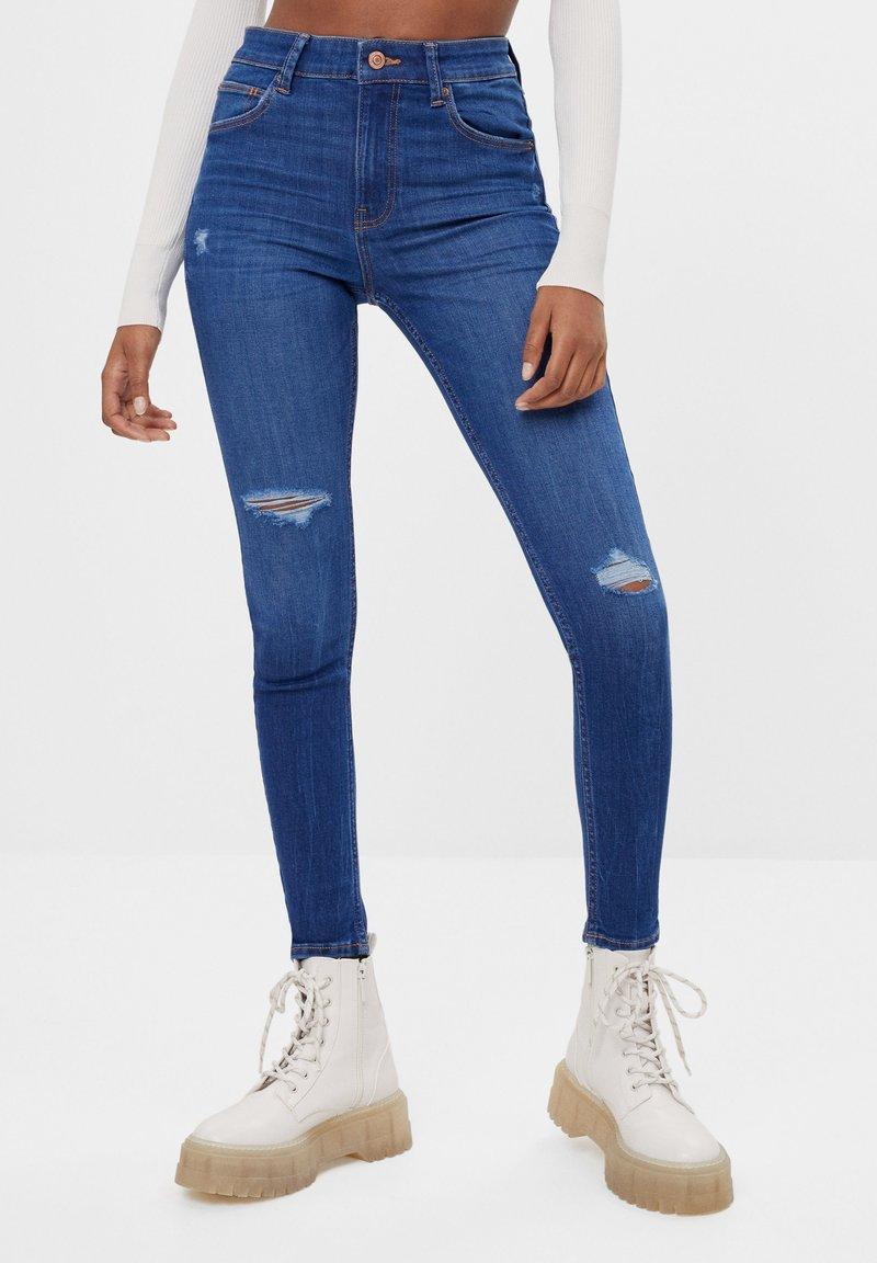 Bershka - MIT HOHEM BUND  - Jeans Skinny Fit - dark blue