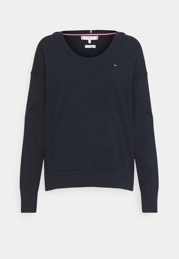 HOODIE OPEN NECK - Sweter - blue