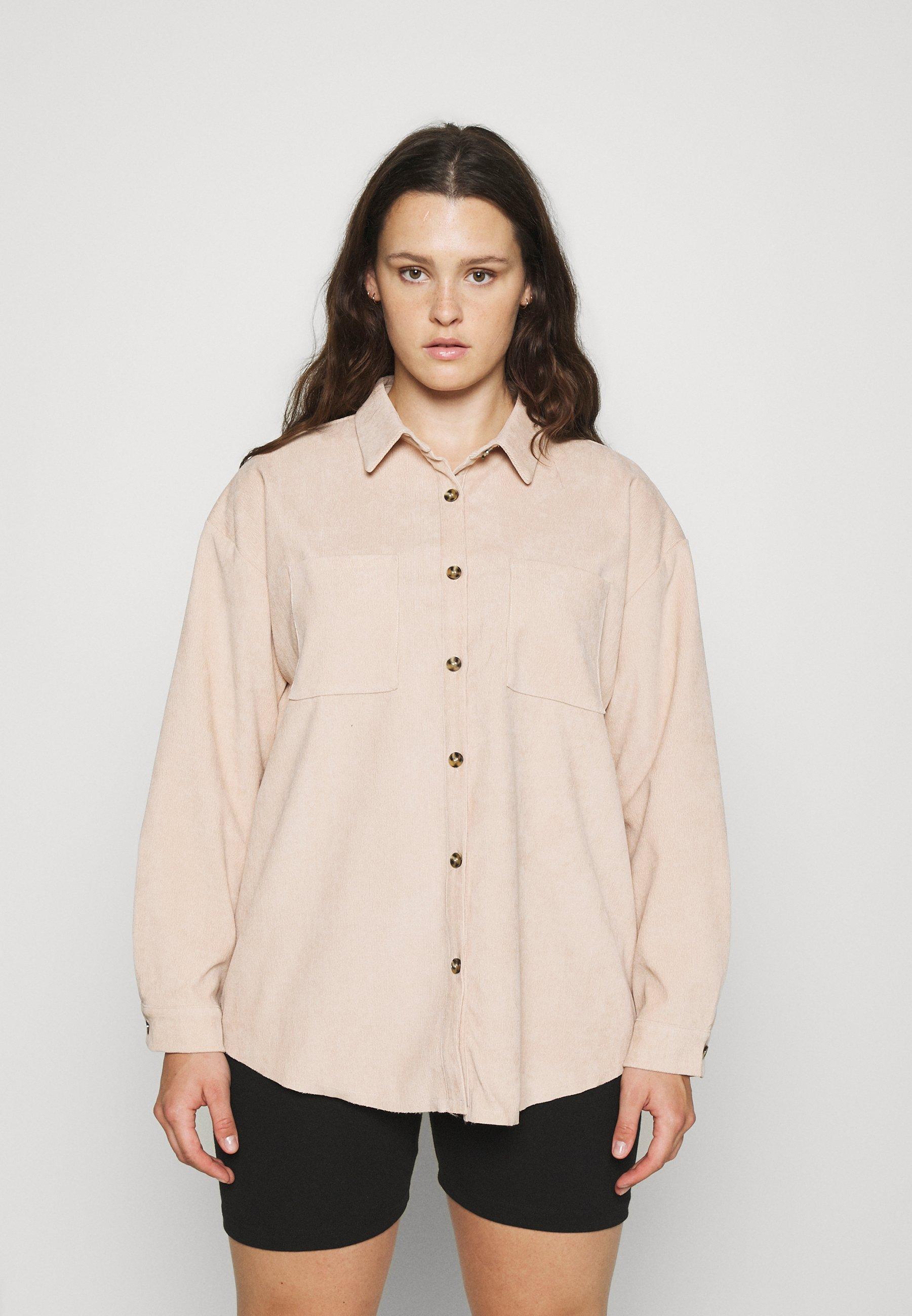 Women PLUS MINI BUTTON RAW HEM - Button-down blouse
