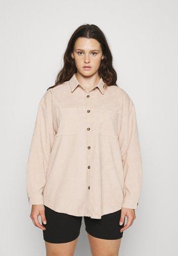 PLUS MINI BUTTON RAW HEM - Button-down blouse - cream