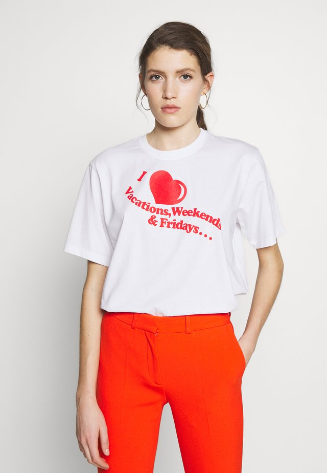 I HEART WEEKENDS - T-shirt con stampa - white/flame red