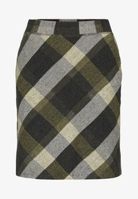 TOM TAILOR - A-line skirt - black yellow check knitted - 5