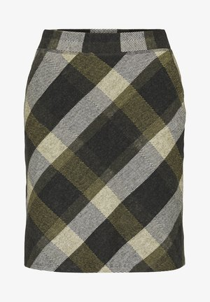 A-line skirt - black yellow check knitted