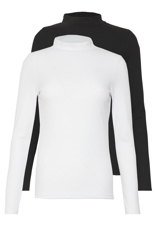 TURTLE NECK 2 PACK - Topper langermet - black/white