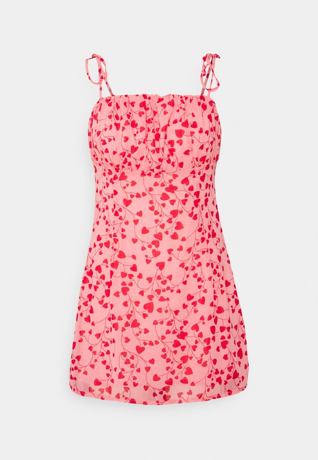 HEART DITSY TIE STRAP MINI DRESS - Day dress - pink