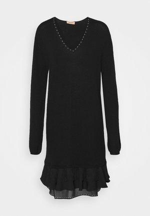 MINI ABITO CON APPLICAZIONI - Jumper dress - nero