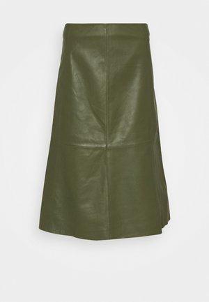 MARVIN - Leather skirt - olivine