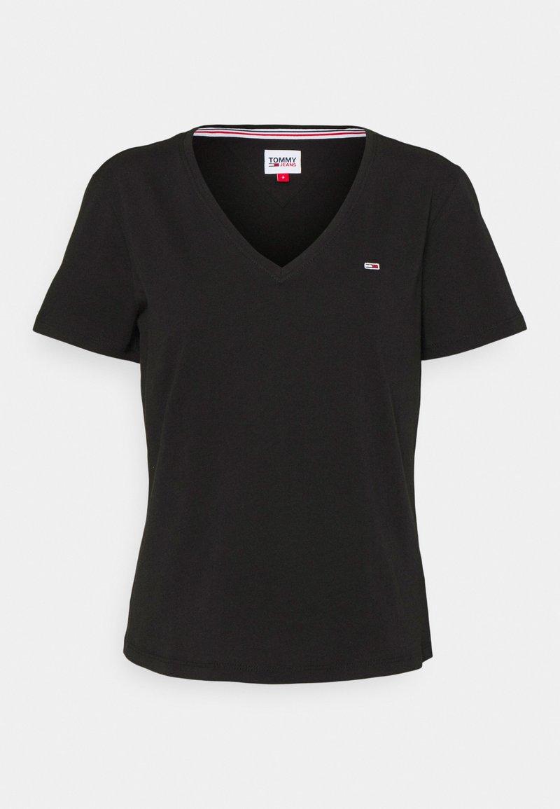 Tommy Jeans - SOFT V NECK TEE - T-shirt basique - black