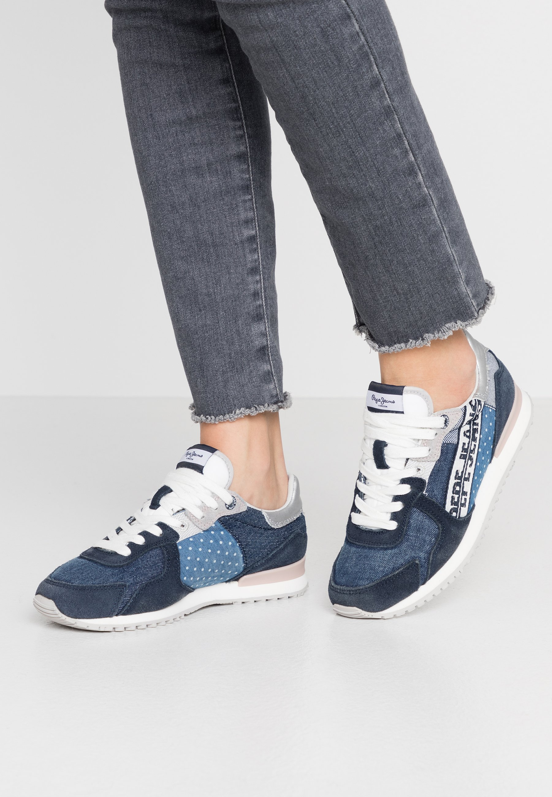 Caldo Scarpe da Donna Pepe Jeans TINKER TAPE WOMAN Sneakers basse dark denim