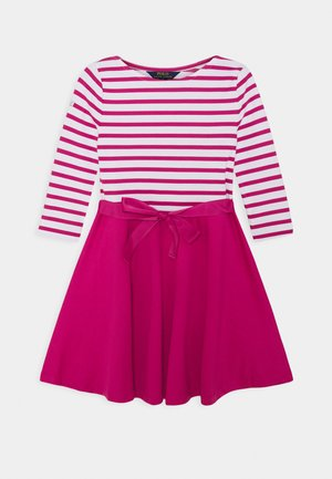 STRIPE SOLID DRESSES - Jersey dress - college pink/white