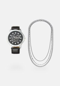 Pier One - WATCH NECKLACES GIFT SET - Watch - black/silver-coloured - 0