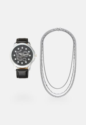 WATCH NECKLACES GIFT SET - Horloge - black/silver-coloured