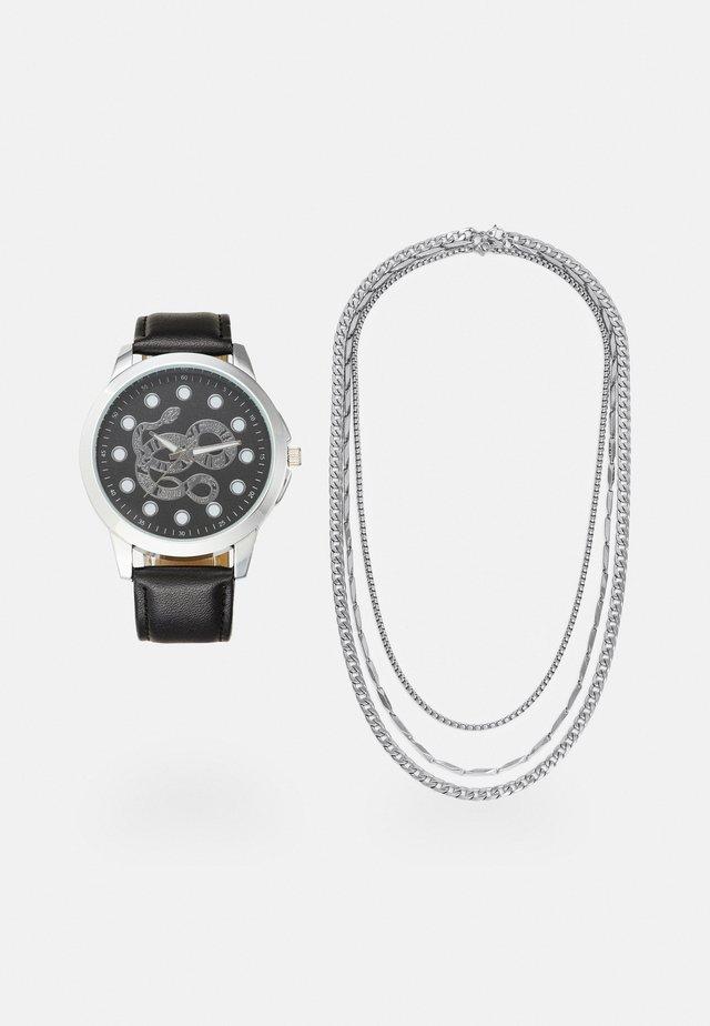 WATCH NECKLACES GIFT SET - Rannekello - black/silver-coloured
