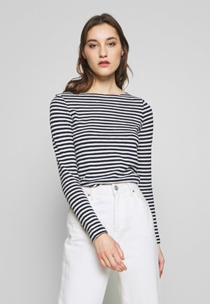 LONG SLEEVE BOAT NECK STRIPED - Long sleeved top - multi/night sky