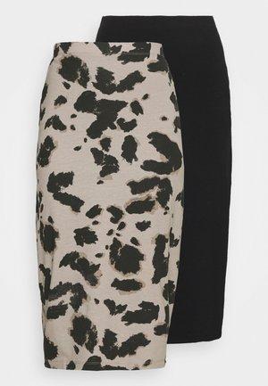 2 PACK - Pencil skirt - black/white