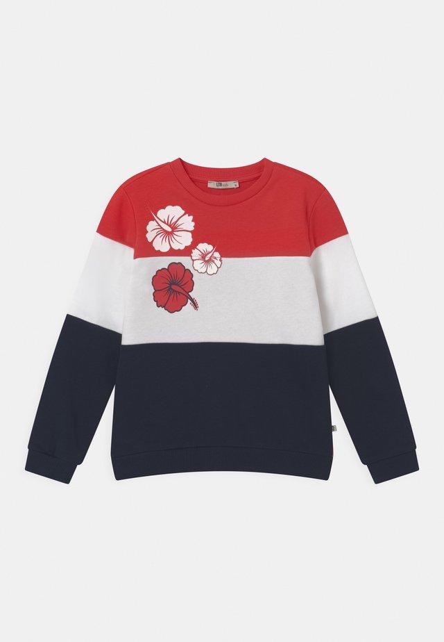 NAFETA - Sweatshirt - racing red/white/navy block
