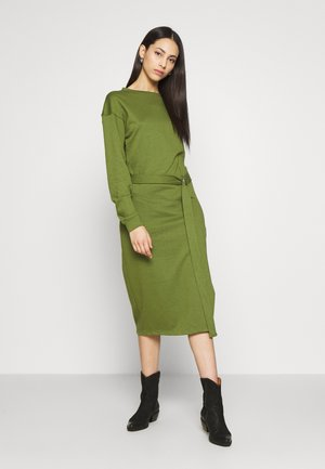 BELTED MIDI DRESS - Day dress - khaki