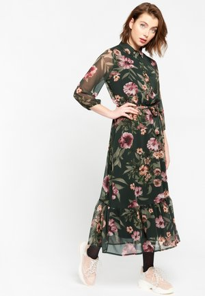 WITH FLOWERS AND BELT - Day dress - khaki