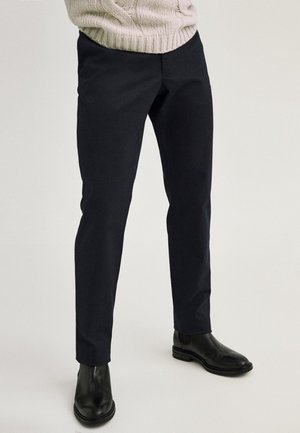 Chinosy - blue-black denim