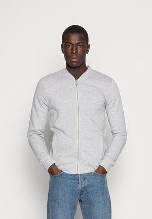 JACKET - Sweater met rits - light stone/grey melange