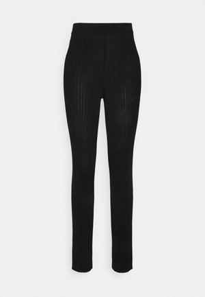 RIBBED KNITTED PANTS - Trousers - black