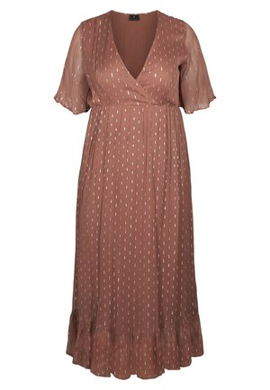 MIT WRAP-EFFEKT - Maxi dress - copper