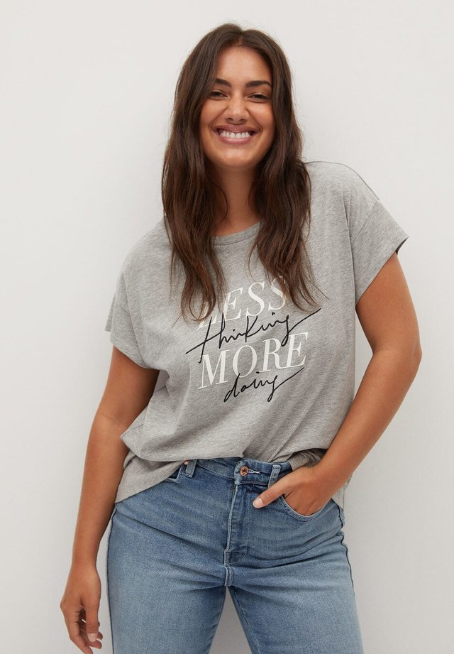LESS - T-shirt imprimé - gris