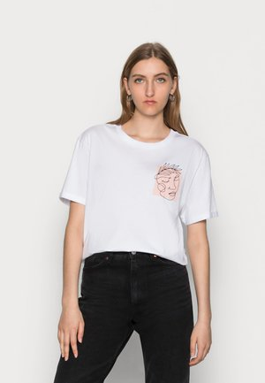LEAF/FACES - Print T-shirt - white
